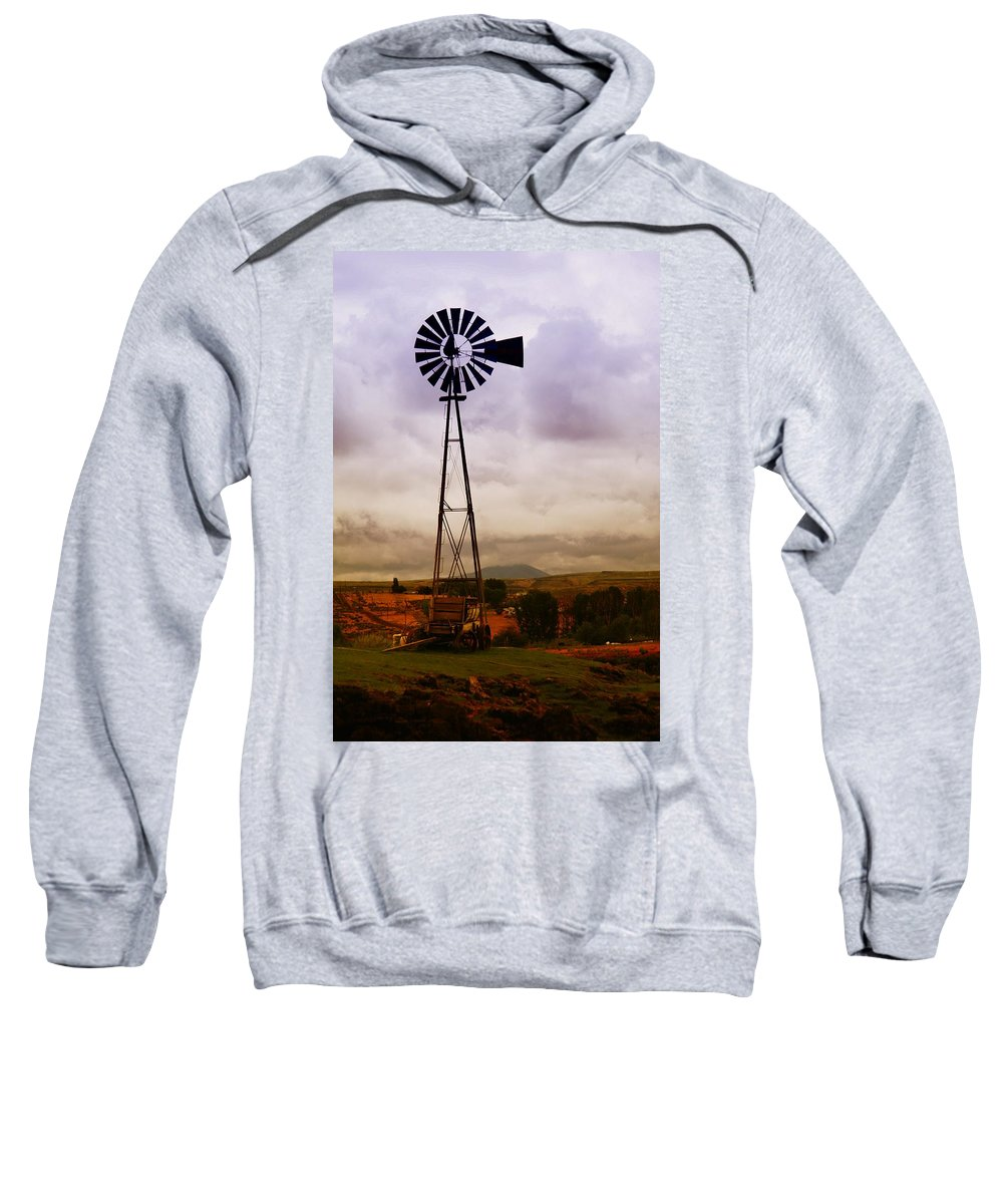 Farm Sweatshirt featuring the photograph A Windmill And Wagon by Jeff Swan