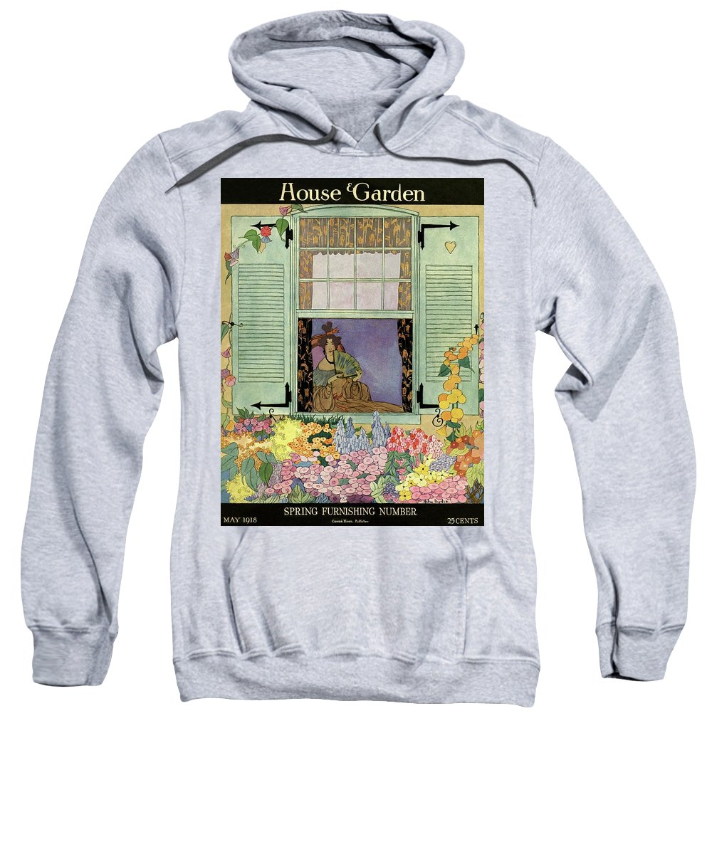 House And Garden Sweatshirt featuring the photograph A Woman With A Fan by Helen Dryden
