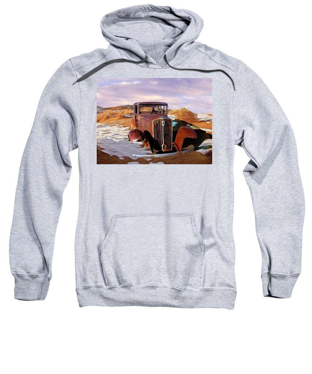 Abandoned Sweatshirt featuring the photograph Abandoned For Almost 100 Years On Route 66 by Bob and Nadine Johnston