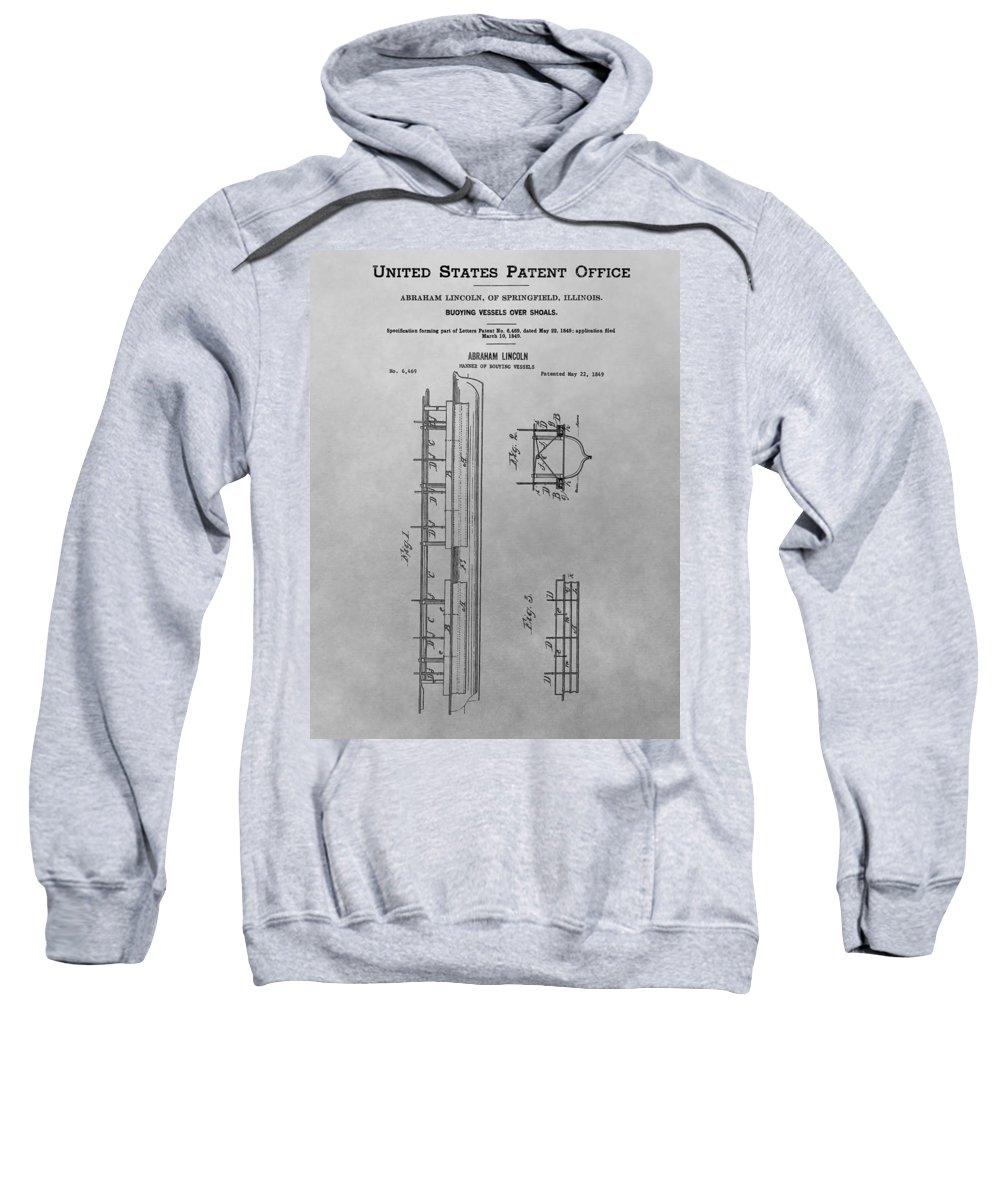 Vintage Abraham Lincoln Patent Sweatshirt featuring the drawing Abraham Lincoln Patent Drawing by Dan Sproul