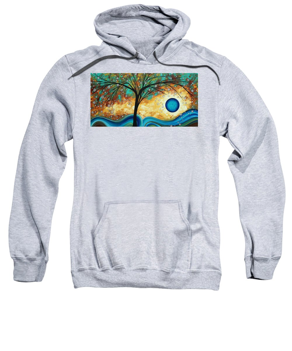 Art Sweatshirt featuring the painting Abstract Art Contemporary Painting Summer Blooms By Madart by Megan Duncanson