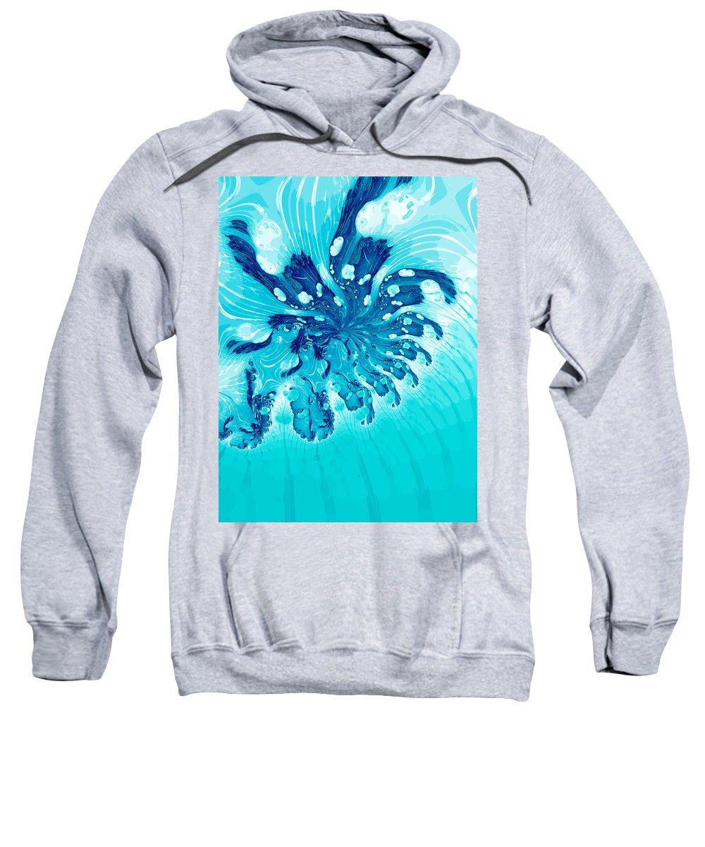 Digital Art Sweatshirt featuring the digital art Abstract Blue by Gabiw Art