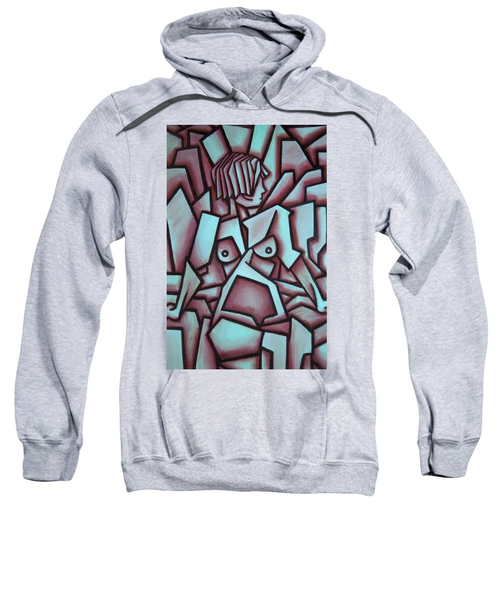 Abstact Sweatshirt featuring the painting Abstract Girl by Thomas Valentine