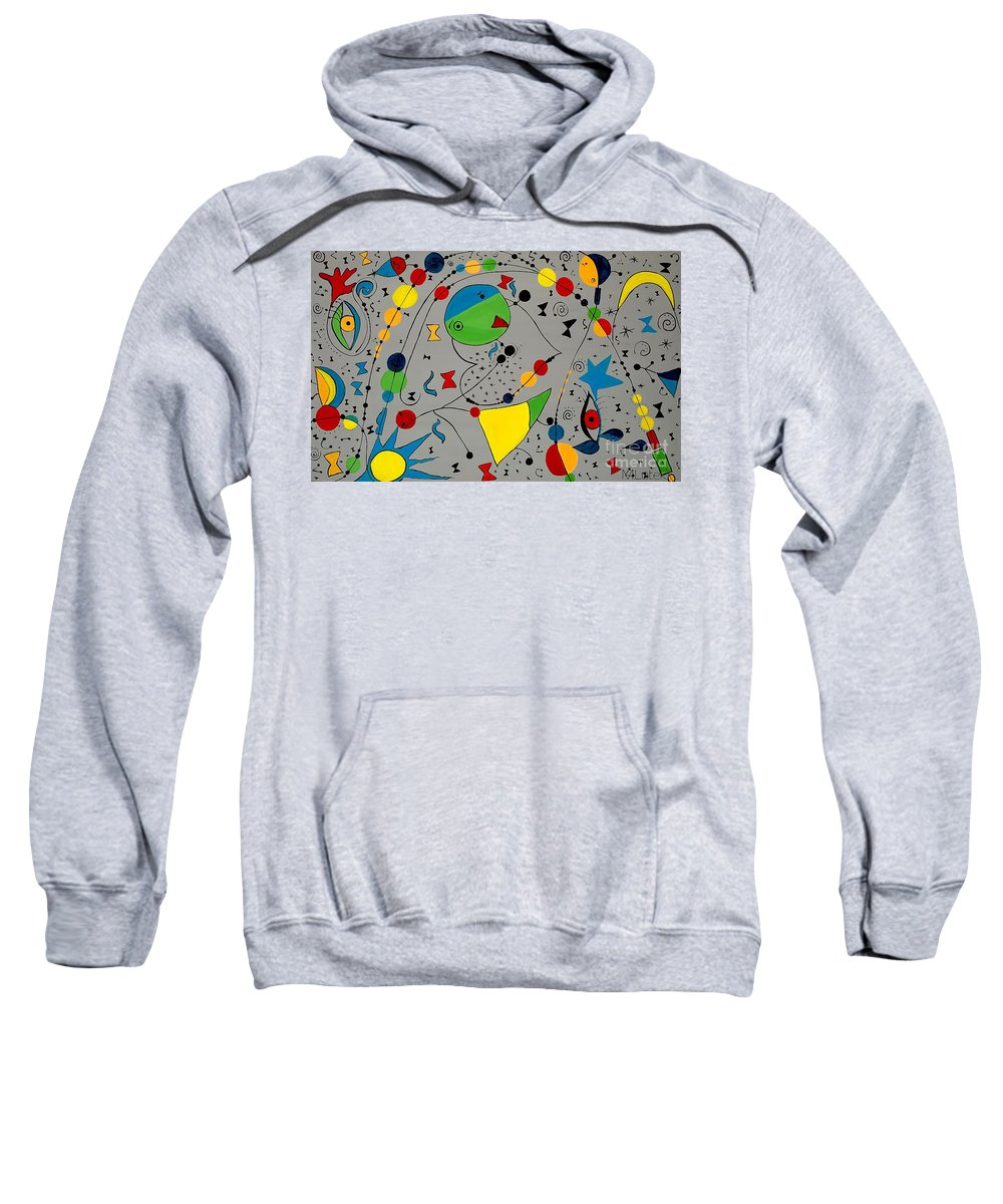 Abstraction Sweatshirt featuring the painting Abstraction 575 - Marucii by Marek Lutek