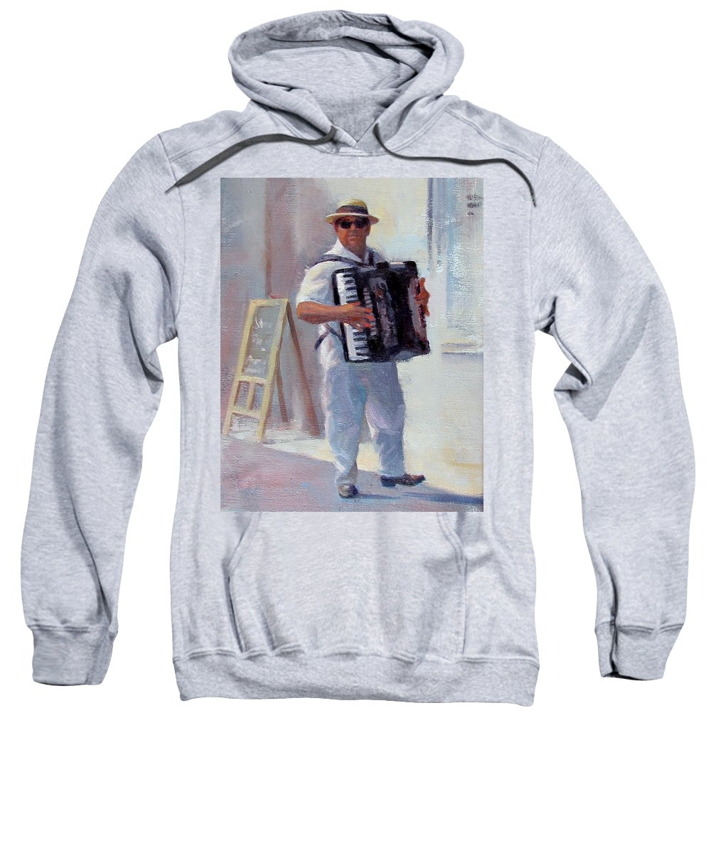 France Sweatshirt featuring the painting Accordian Man by Dianne Panarelli Miller