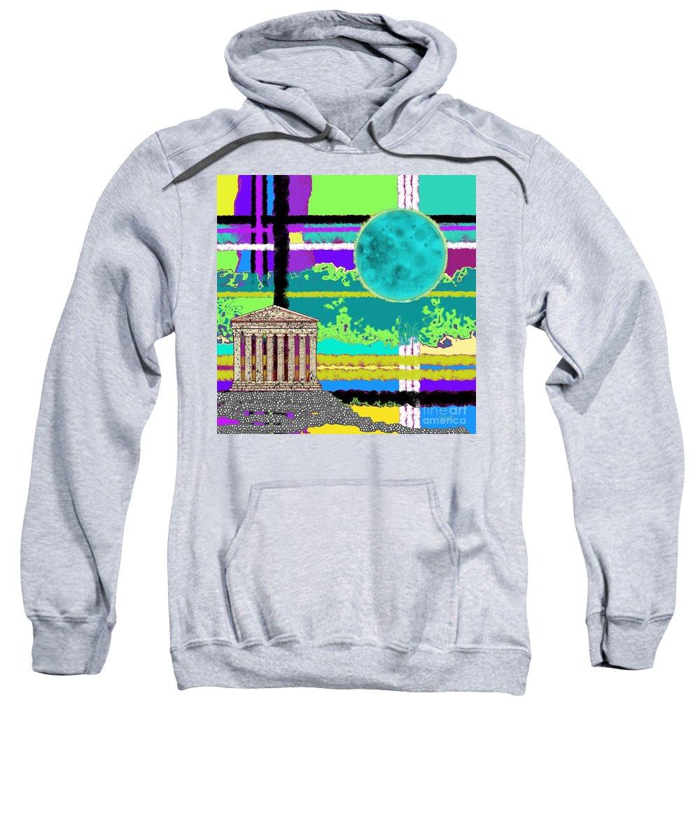 Acropolis Sweatshirt featuring the digital art Acropolis Plaid by Carol Jacobs