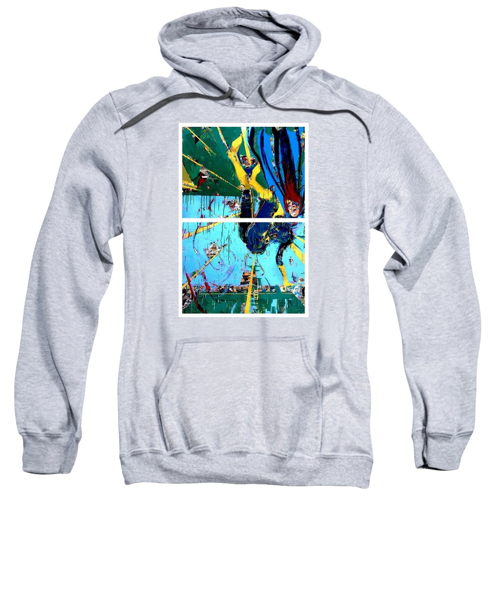 Abstract Art Paintings Sweatshirt featuring the painting Action Abstraction No. 21 by David Leblanc