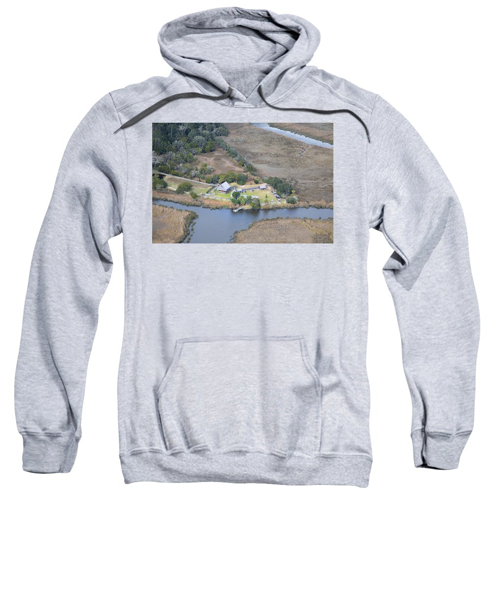 Aerial Sweatshirt featuring the photograph Aerial Jekyll Island Area by Betsy Knapp
