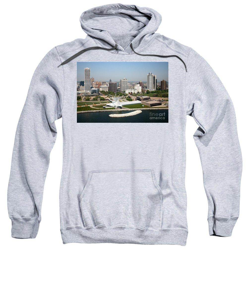Kilbourn Tower Sweatshirt featuring the photograph Aerial Of Milwaukee Skyline by Bill Cobb