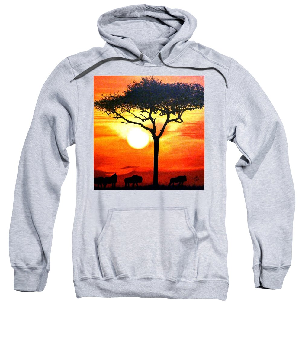 Africa Sweatshirt featuring the painting Africa by Lita Yulia Litvinova
