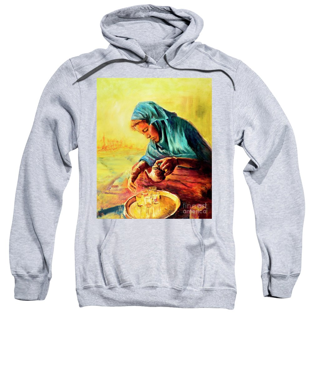 Woman Sweatshirt featuring the painting African Chai Tea Lady. by Sher Nasser