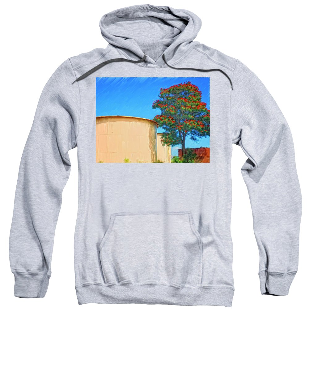 African Tulip Tree Sweatshirt featuring the painting African Tulip And Fuel Tanks by Dominic Piperata