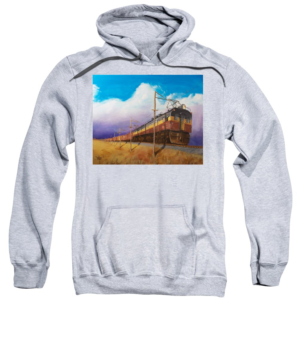 Electric Locomotive Sweatshirt featuring the painting Ahead Of The Weather by Christopher Jenkins