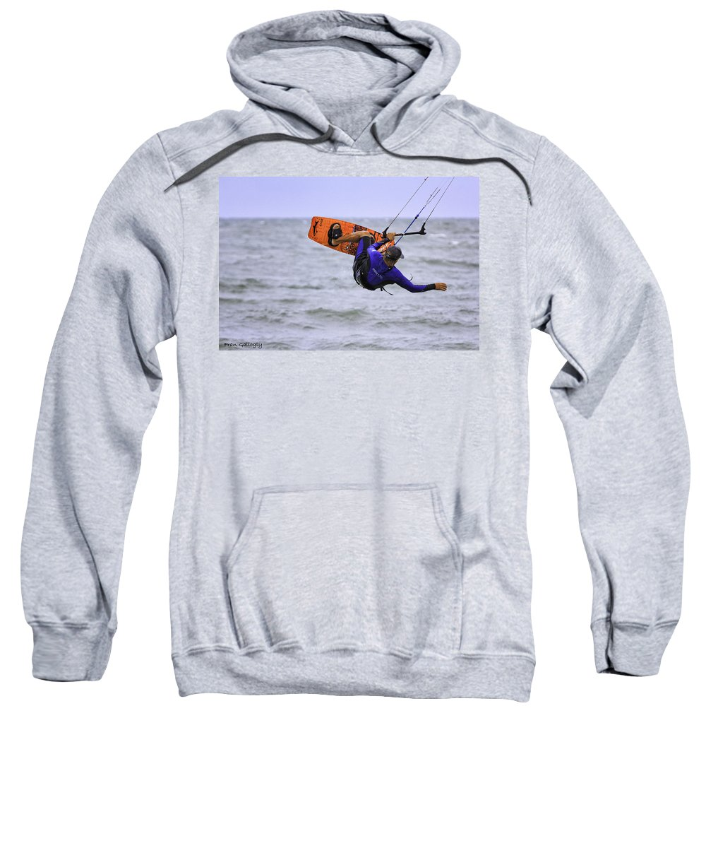 Kite Surfer Sweatshirt featuring the photograph Airborne by Fran Gallogly