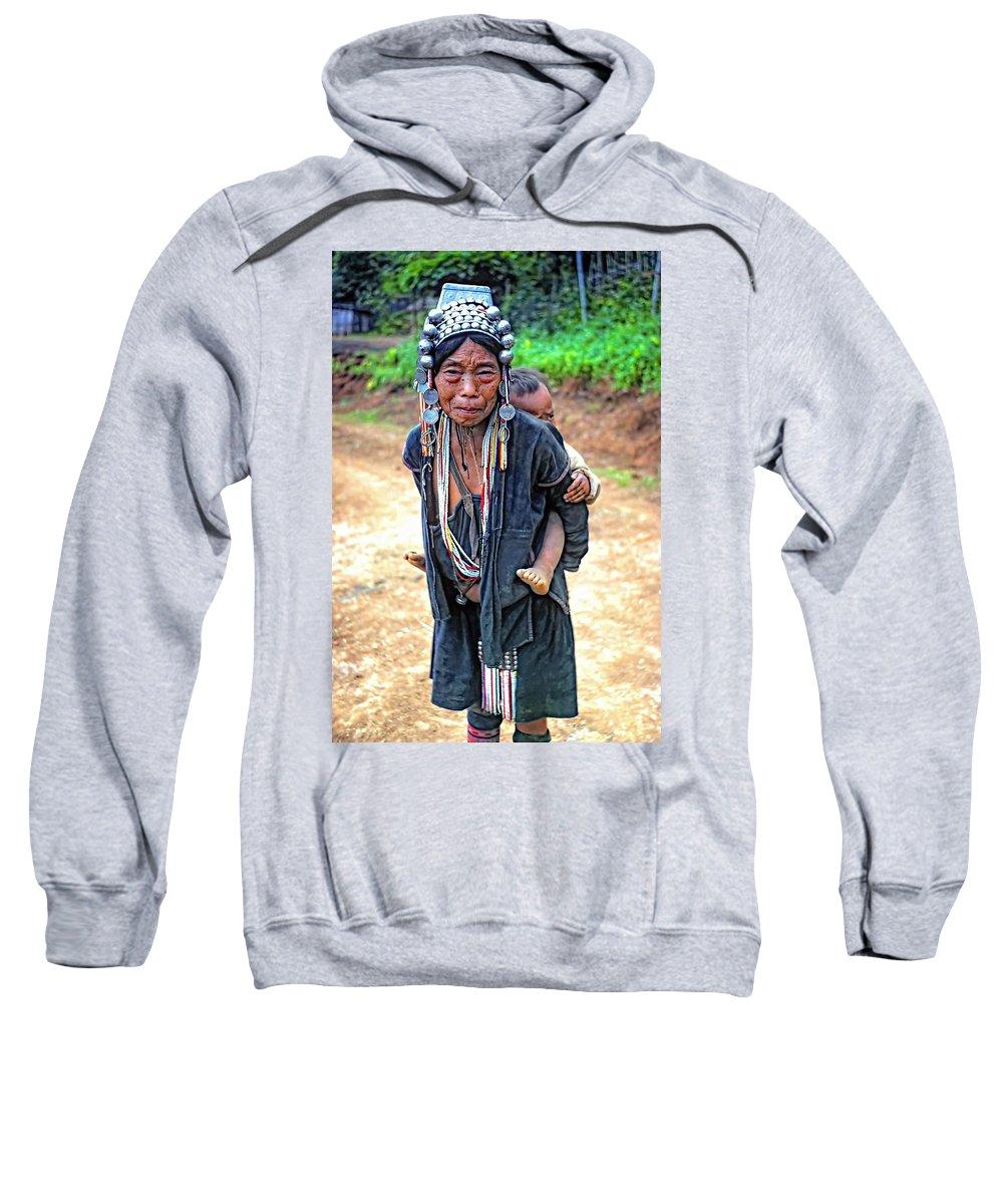 Hill Tribe Sweatshirt featuring the photograph Akha Tribe by Steve Harrington