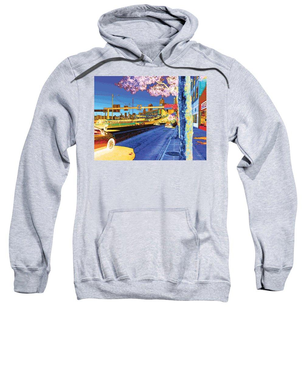 Abstract Sweatshirt featuring the digital art Alaskan Way Viaduct by James Kramer