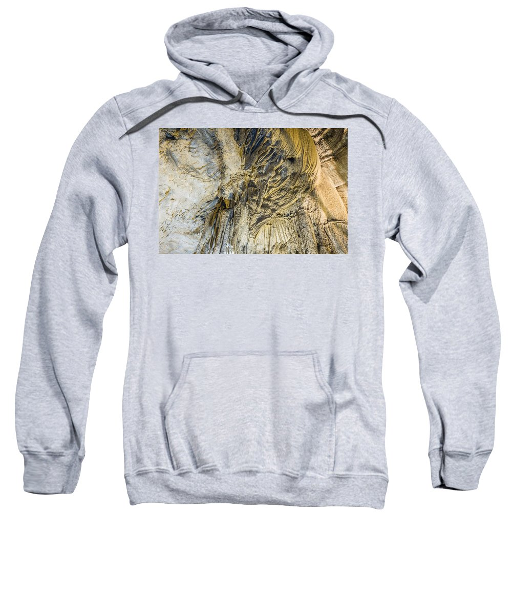 Mammoth Cave National Park Sweatshirt featuring the photograph Alien Rock Formaton by Mary Almond