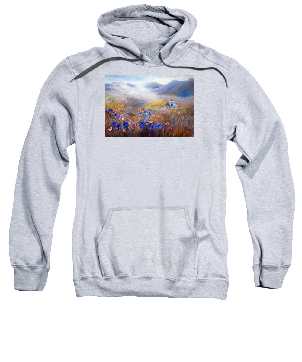 Field Sweatshirt featuring the painting All In A Dream - Impressionism by Georgiana Romanovna