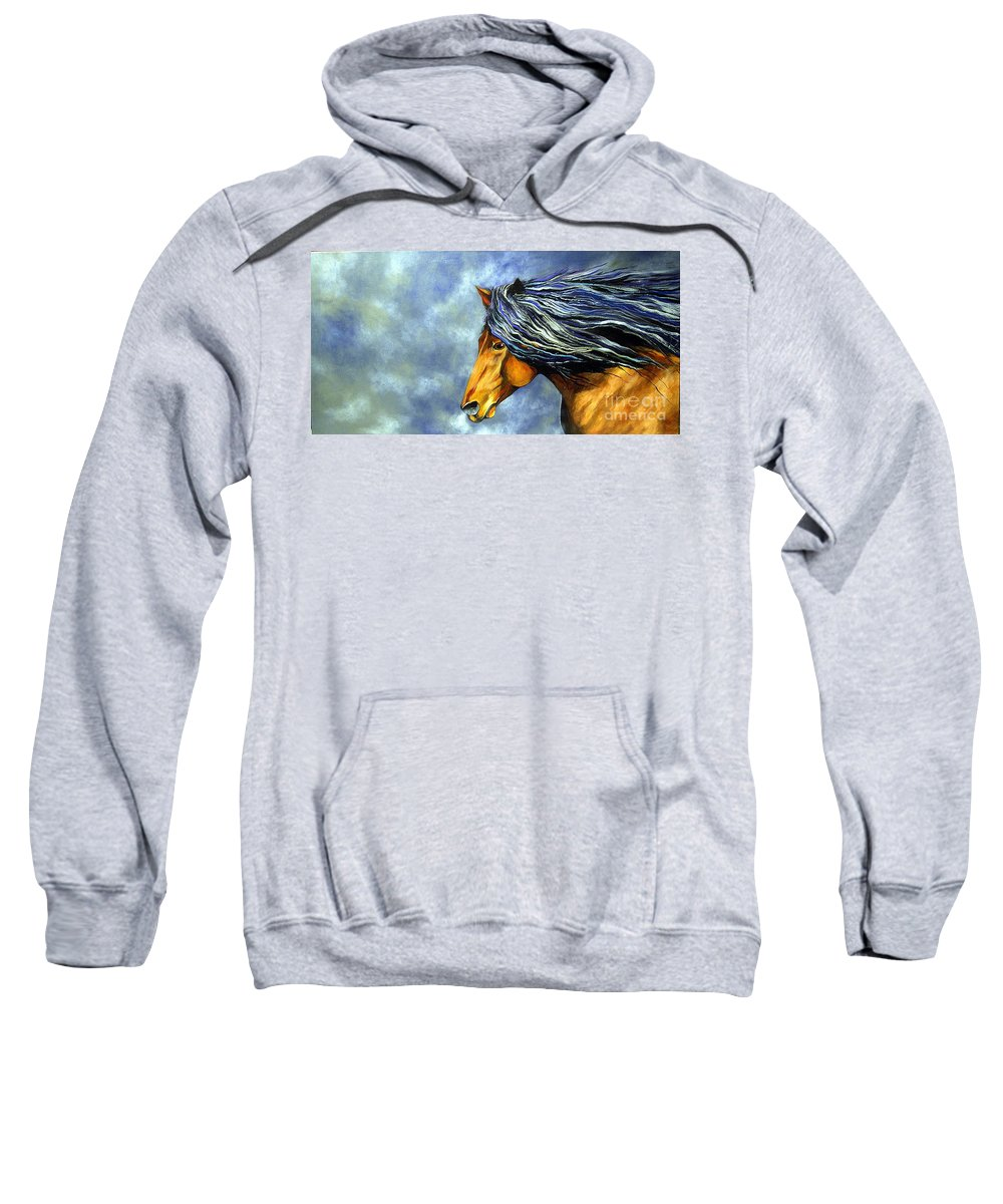 Equine Sweatshirt featuring the painting Almanzors Glissando by Alison Caltrider