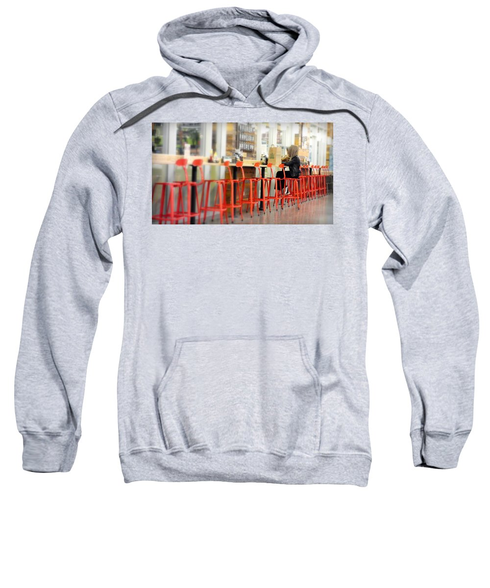 Alone Sweatshirt featuring the photograph Alone On The Stool by Valentino Visentini