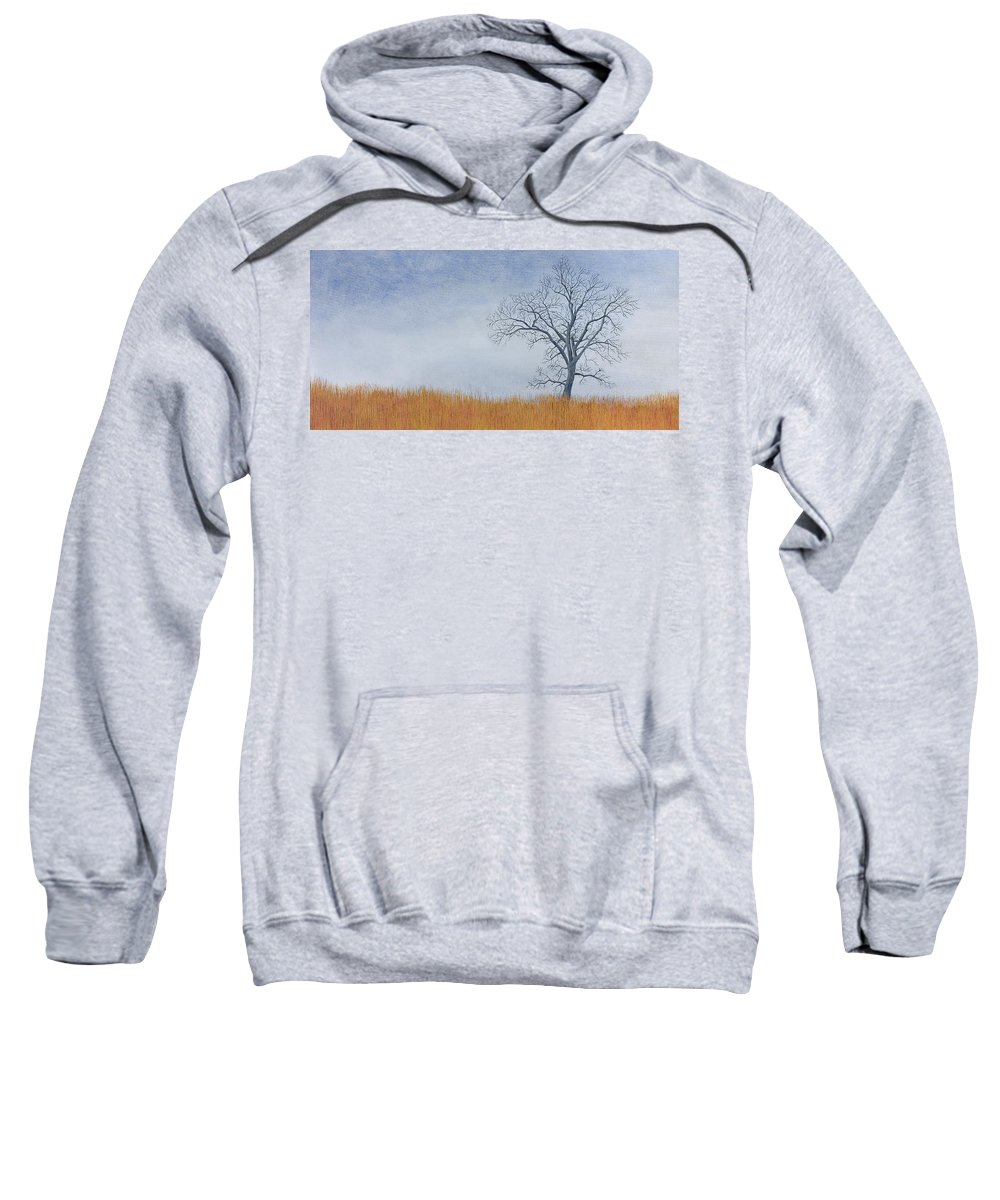 Cottonwood Tree Sweatshirt featuring the painting Alone Winter by Garry McMichael