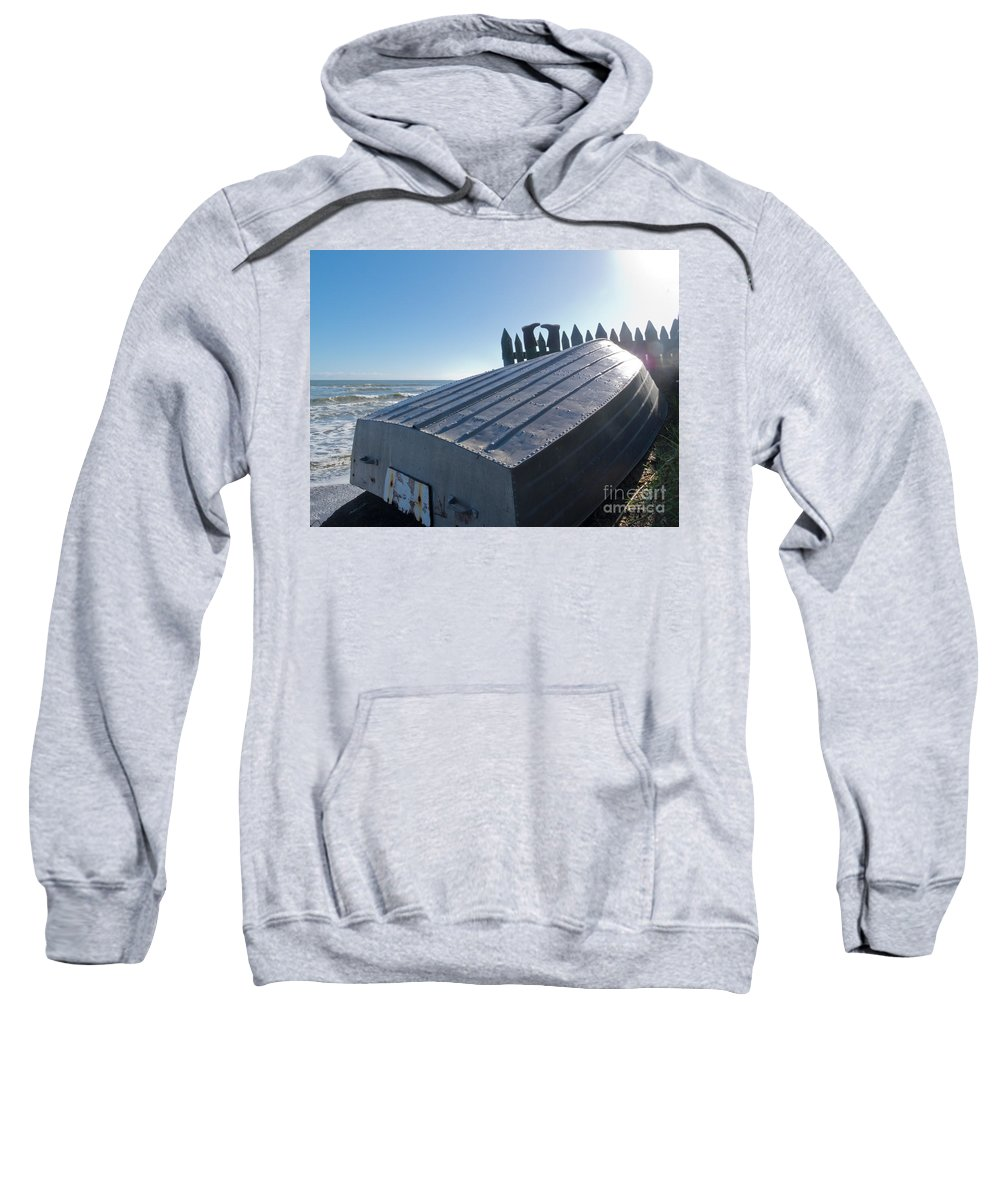Aluminum Sweatshirt featuring the photograph Aluminum Fishing Boat And Boots Drying On Fence by Stephan Pietzko