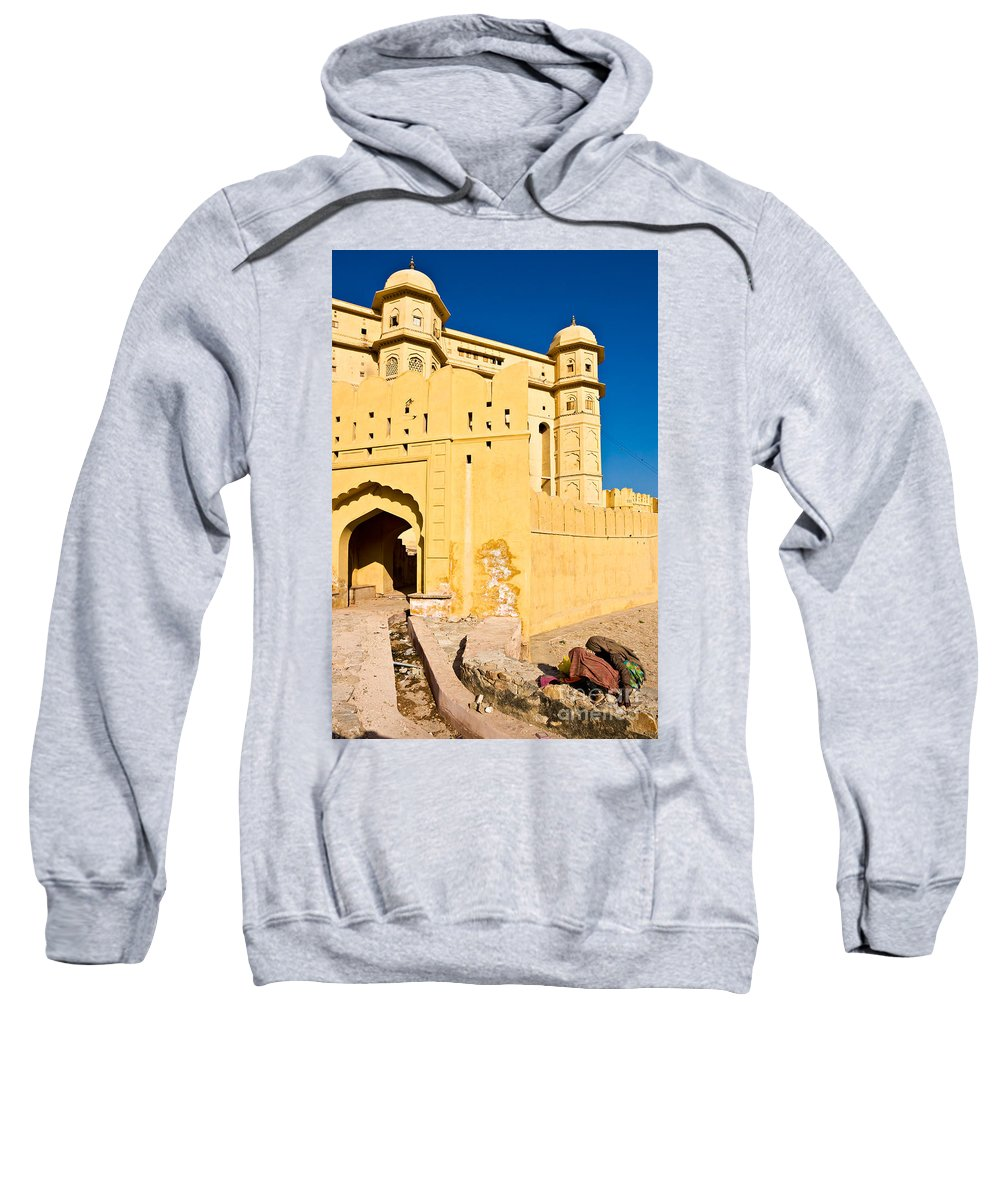 Unrecognizable Person Sweatshirt featuring the photograph Amber Fort - Jaipur - India by Luciano Mortula