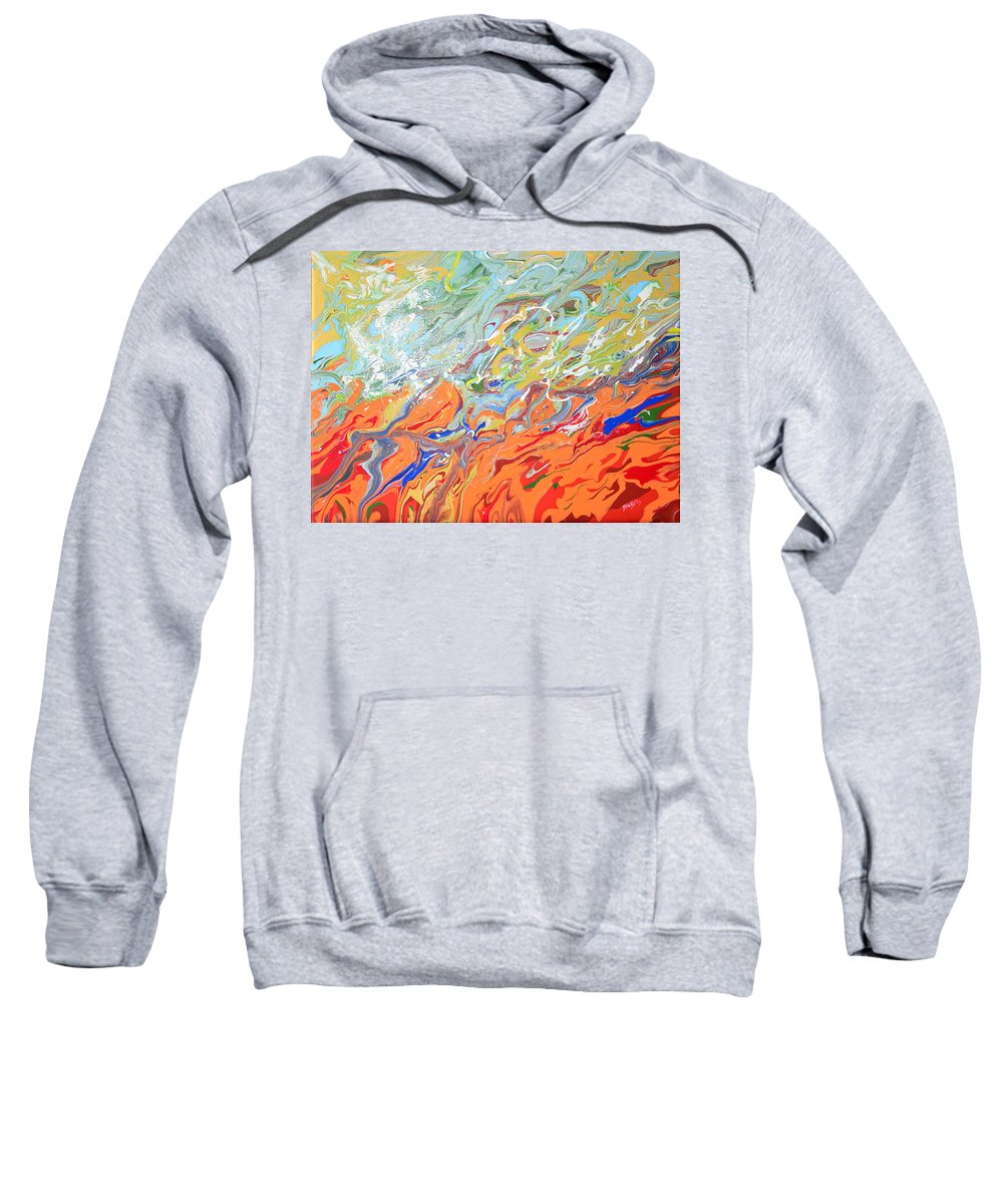 Modern Sweatshirt featuring the painting Amber Waves by Donna Blackhall