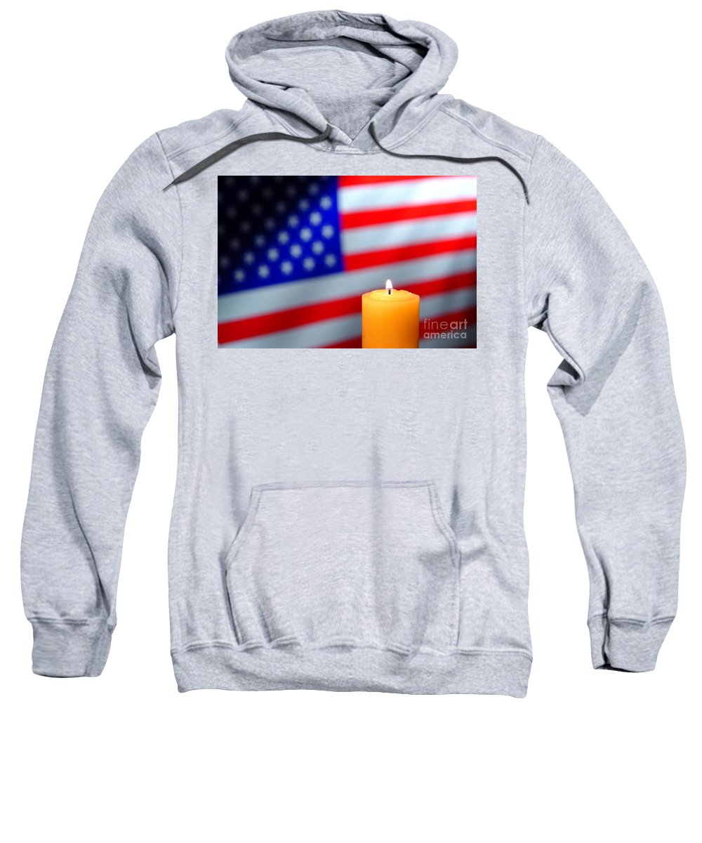 American Sweatshirt featuring the photograph American Flag And Candle by Olivier Le Queinec
