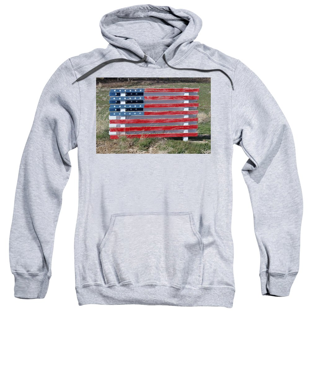 Americana Sweatshirt featuring the photograph American Flag Country Style by Sylvia Thornton