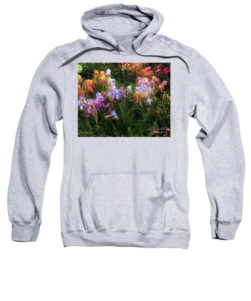 Flowers. Garden Sweatshirt featuring the painting American Giverny by RC DeWinter