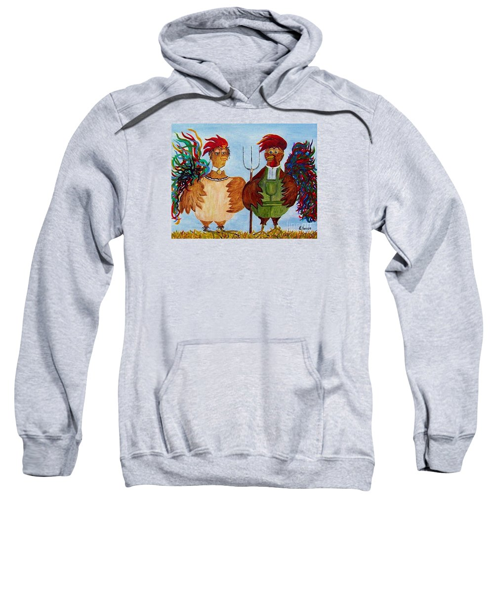 Rooster Sweatshirt featuring the painting American Gothic Down On The Farm - A Parody by Eloise Schneider