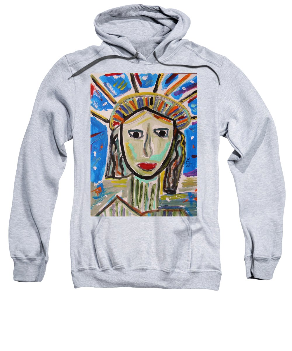 Statue Of Liberty Sweatshirt featuring the painting American Lady by Mary Carol Williams