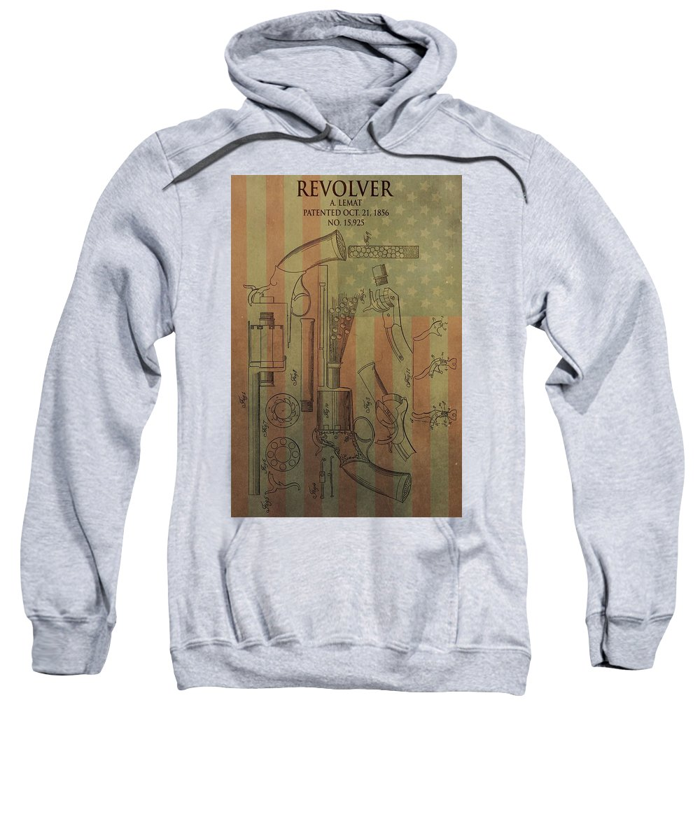 Lemat Revolver Patent Sweatshirt featuring the mixed media American Vintage Revolver by Dan Sproul