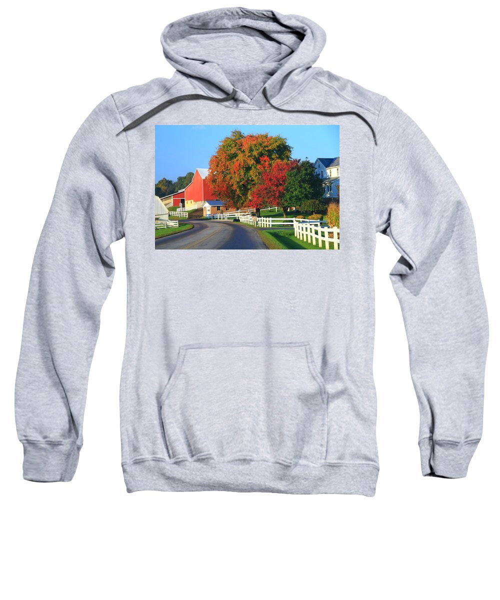 Amish Barn In Autumn Sweatshirt featuring the photograph Amish Barn In Autumn by Dan Sproul
