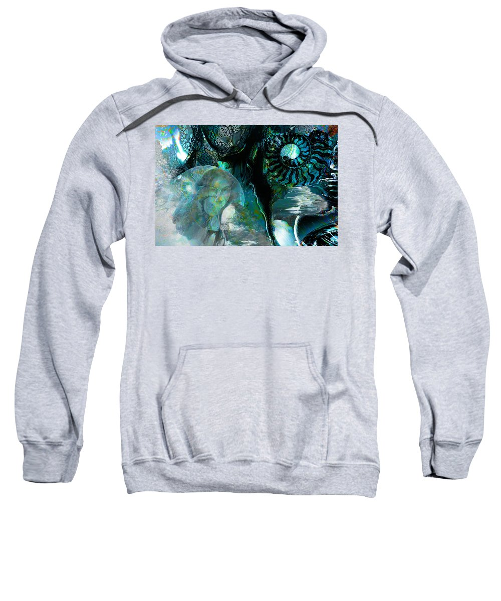 Ocean Sweatshirt featuring the digital art Ammonite Seascape by Lisa Yount