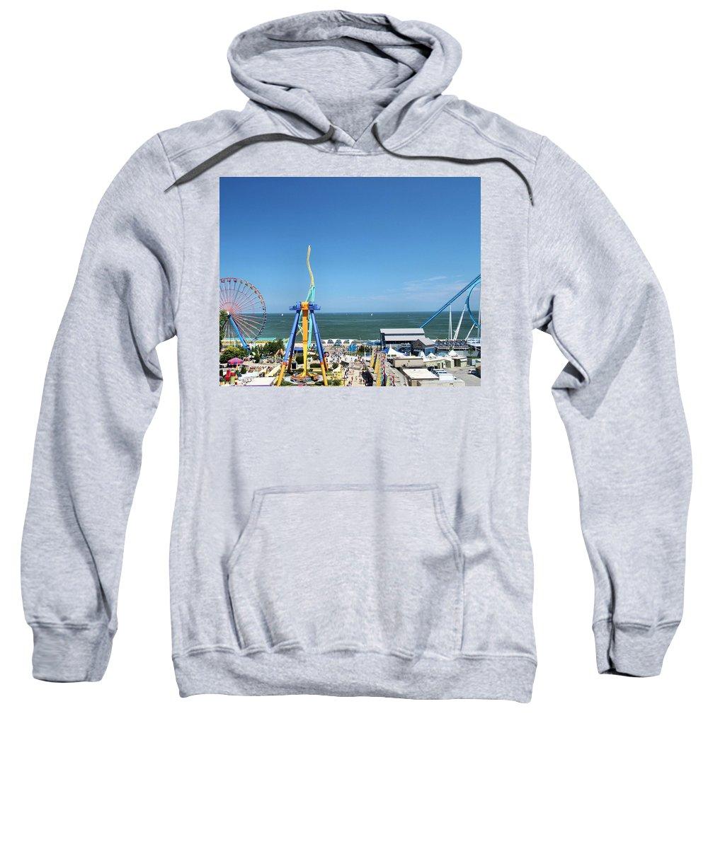 Cedar Point Sweatshirt featuring the photograph Amusement Park View by Dan Sproul