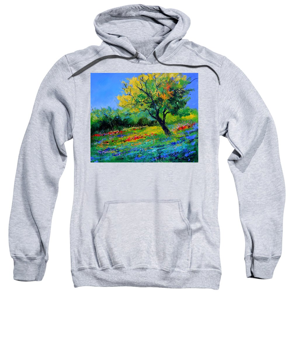 Landscape Sweatshirt featuring the painting An oak amid flowers in Texas by Pol Ledent