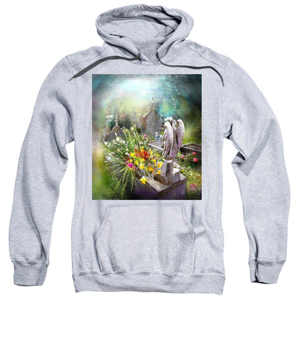 All Saints Sweatshirt featuring the painting Angels Of Stone by Miki De Goodaboom