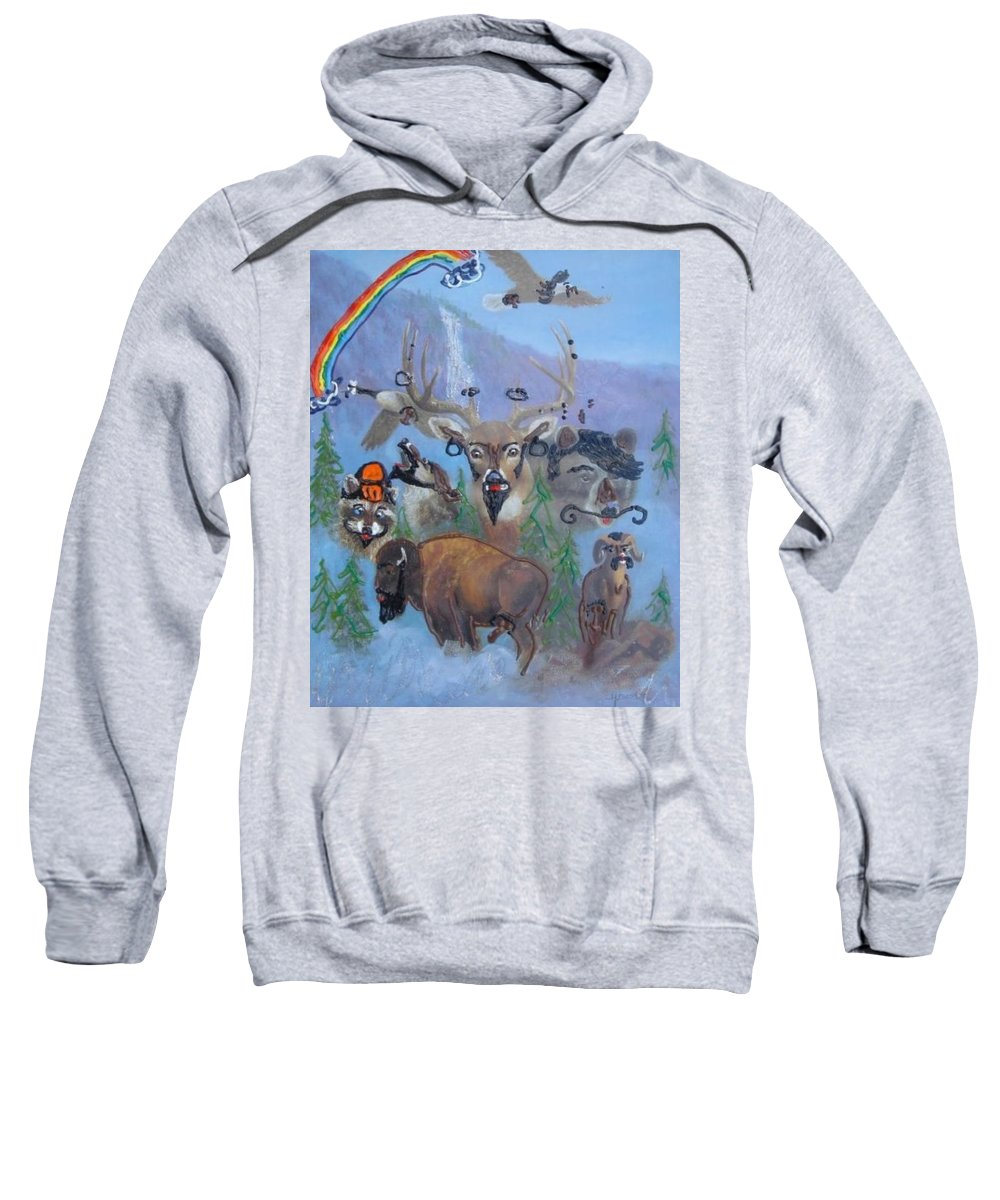 Dear Sweatshirt featuring the painting Animal Equality by Lisa Piper