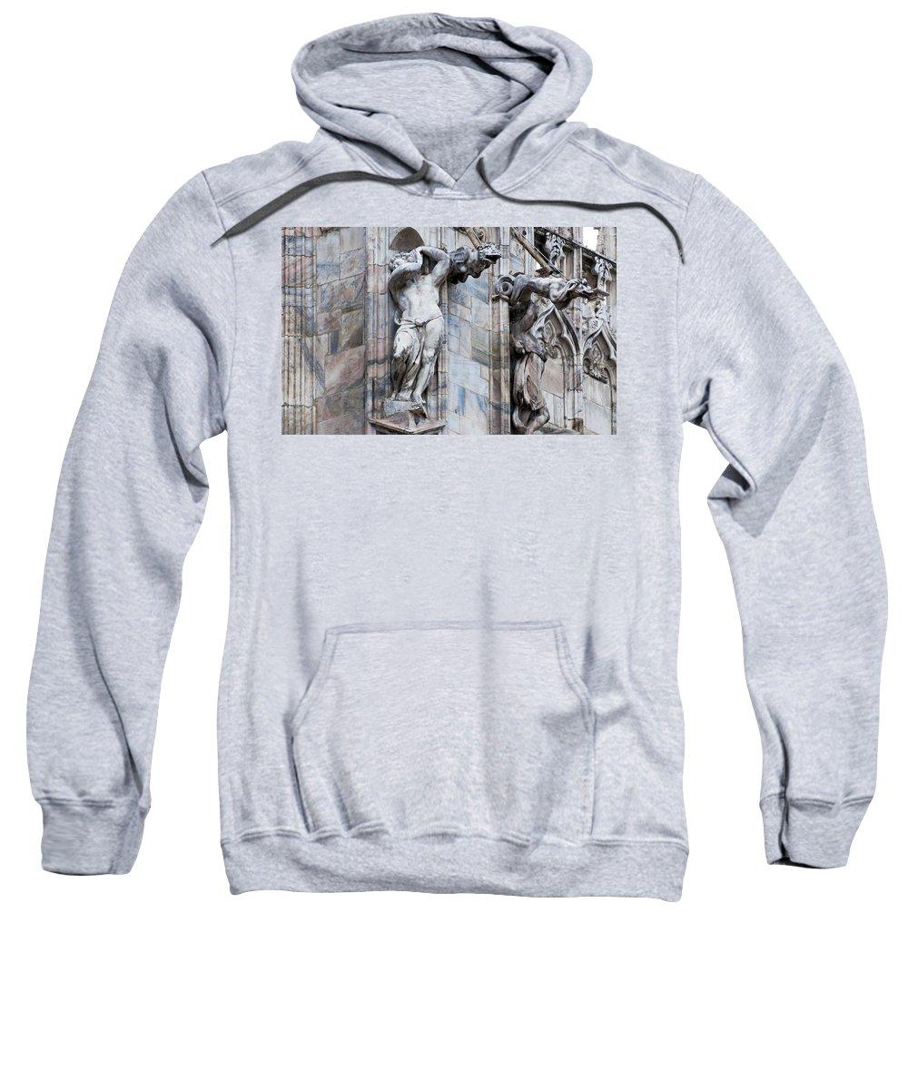 Horizontal Sweatshirt featuring the photograph Animal Gargoyles Duomo Di Milano Italia by Sally Rockefeller