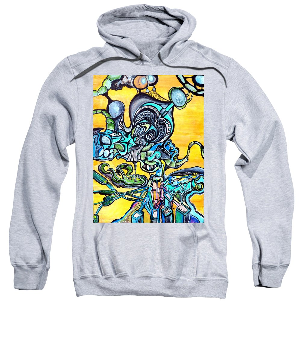 Neon Sweatshirt featuring the painting Animatronic Sunrise by Larry Calabrese