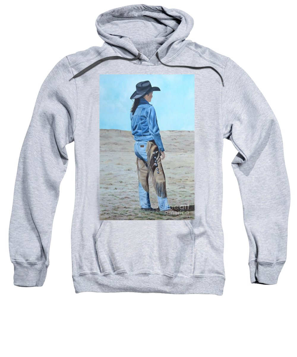 Ranch Sweatshirt featuring the painting Anna After The Ride by Mary Rogers