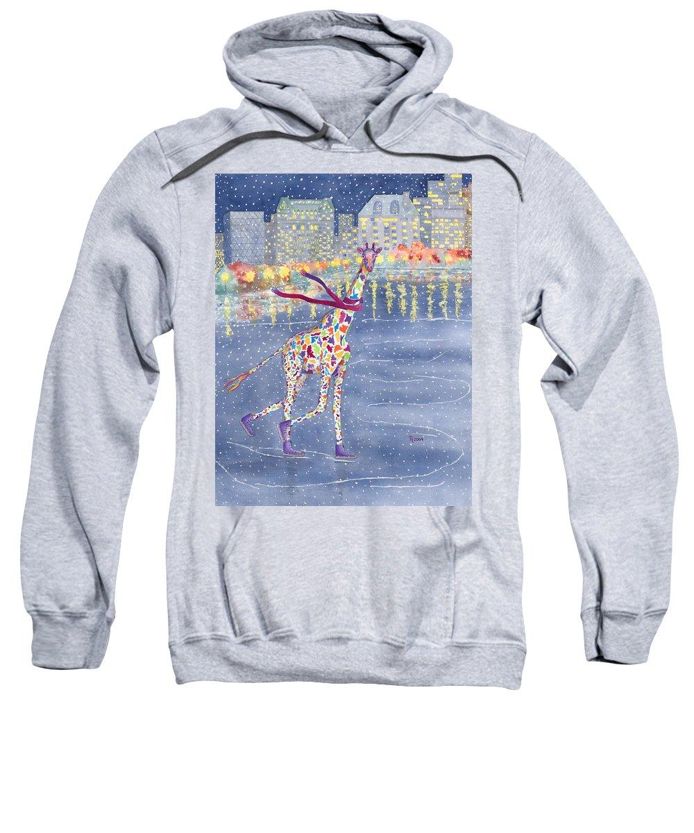 Giraffe Sweatshirt featuring the painting Annabelle On Ice by Rhonda Leonard