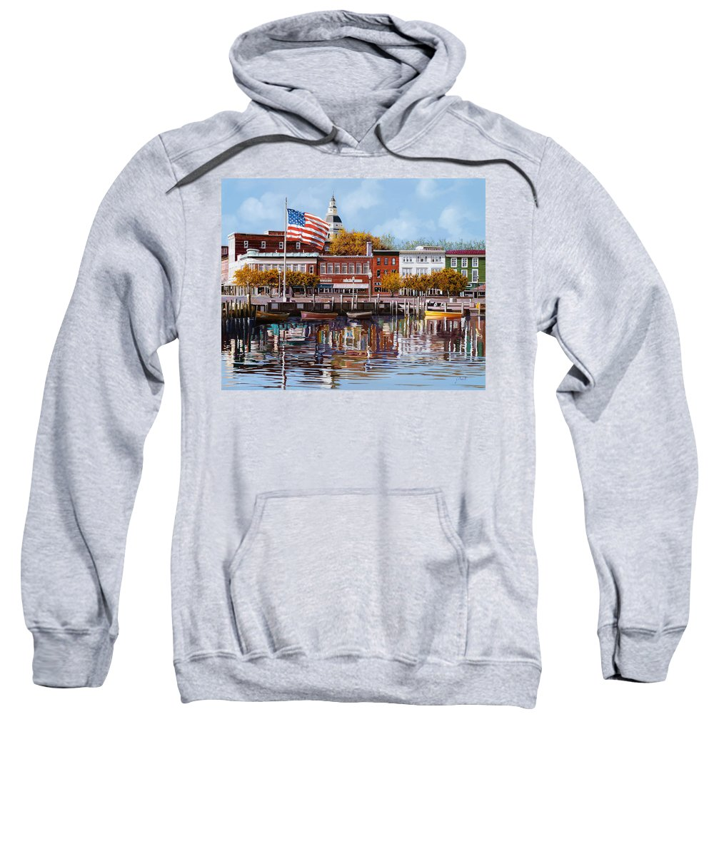 Annapolis Sweatshirt featuring the painting Annapolis by Guido Borelli