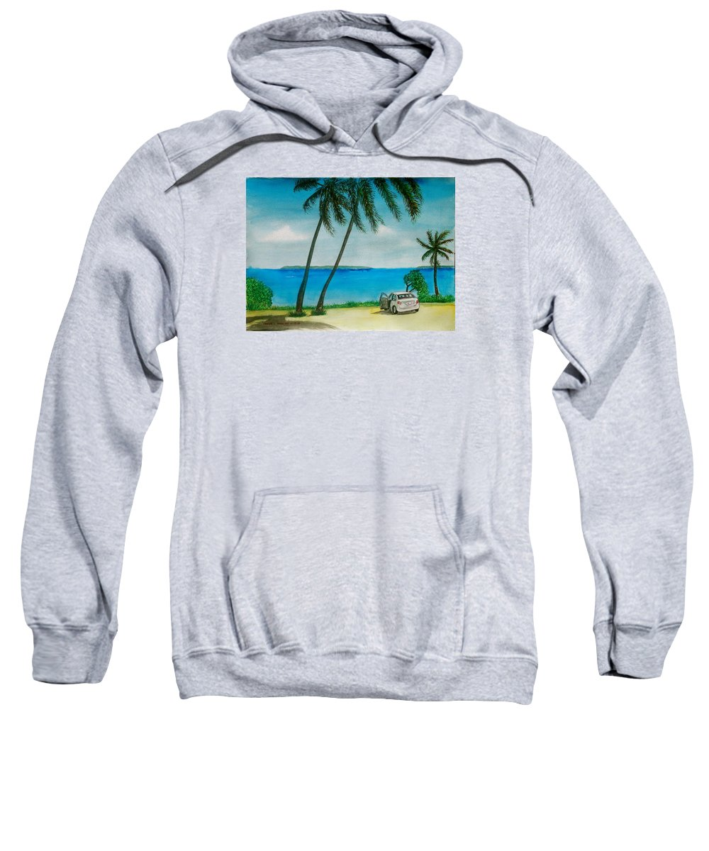 Antigua Caribbean Water Palm Trees Automobile Frank Allaway Automobile Sweatshirt featuring the painting Antigua by Frank Hunter