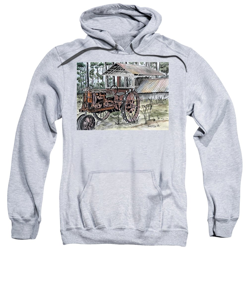Tractor Sweatshirt featuring the painting Antique Farm Tractor  by Derek Mccrea