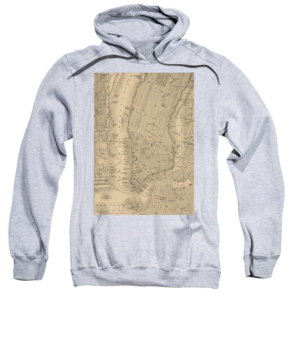 Antique Manhattan Map Sweatshirt featuring the mixed media Antique Manhattan Map by Dan Sproul