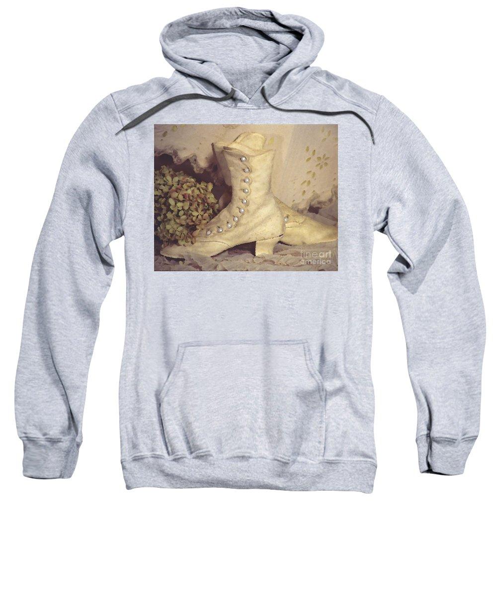 Susan Lipschutz Sweatshirt featuring the digital art Antique Wedding Shoes by Susan Lipschutz