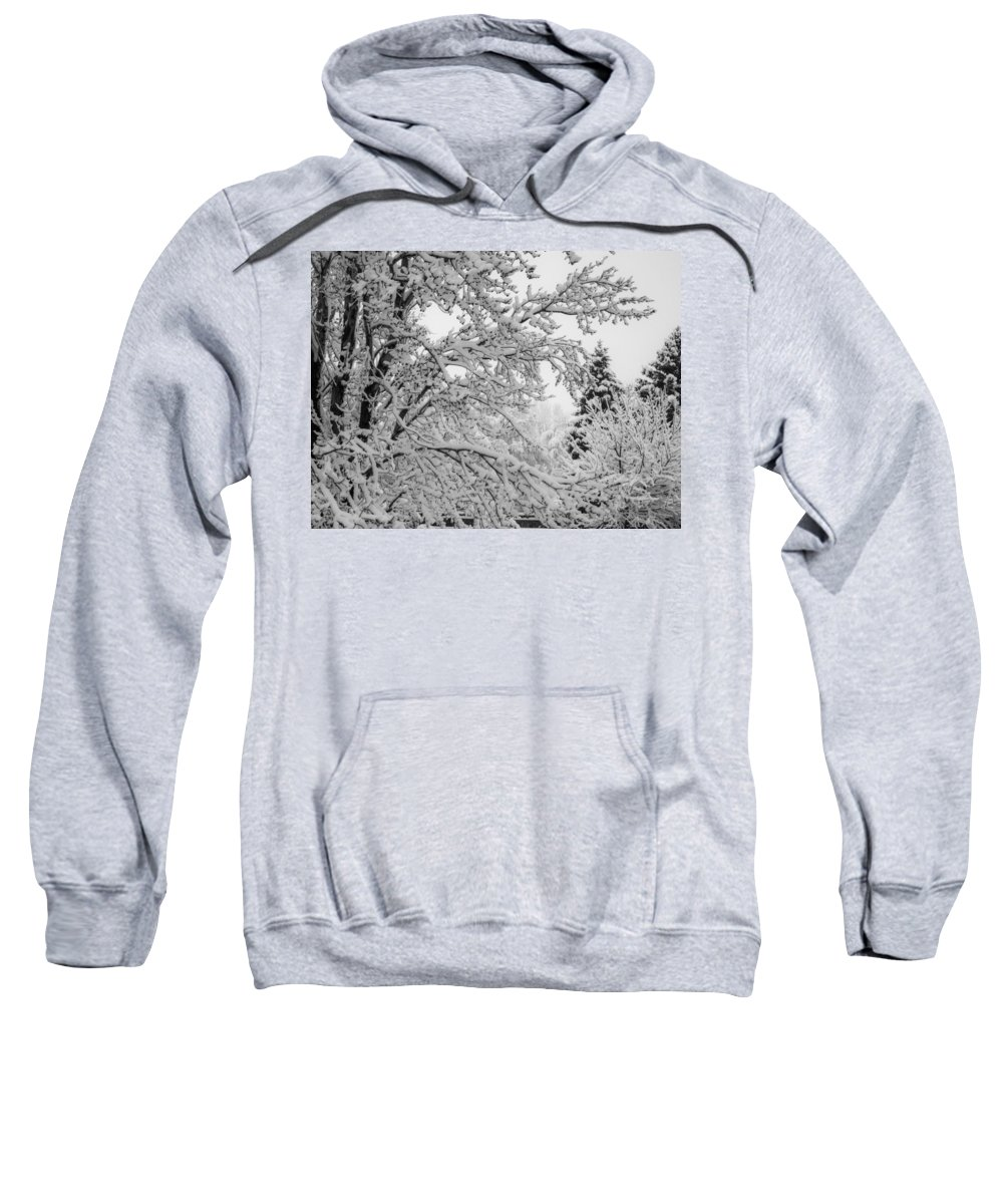 Trees Sweatshirt featuring the photograph April Snow Bw by Ernie Echols